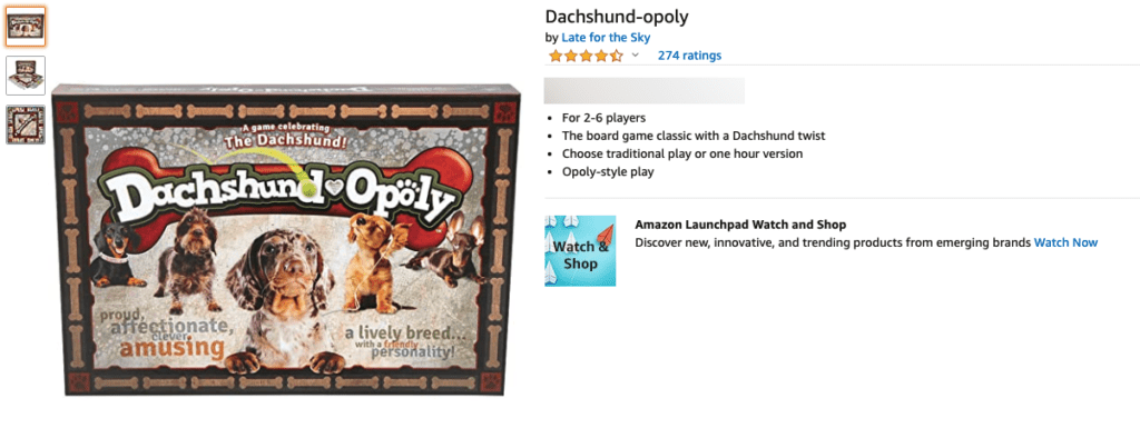 Gifts for Dachshund lovers - board game