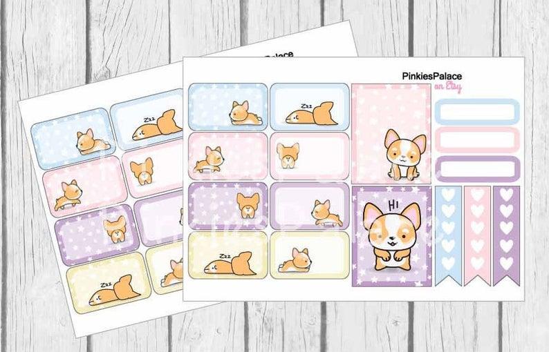 Corgi-Planner-Stickers-Half-Box-Full-Box-Skinny-Stickers-Pastel-Colors