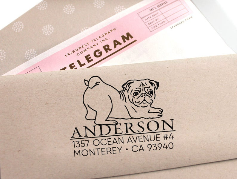 Custom-Address-Stamp-Cute-Pug-Return-Address-Stamp-Holiday-Gift-Stocking-Stuffer-Wedding-Gift-Self-Inking-Rubber-Stamp
