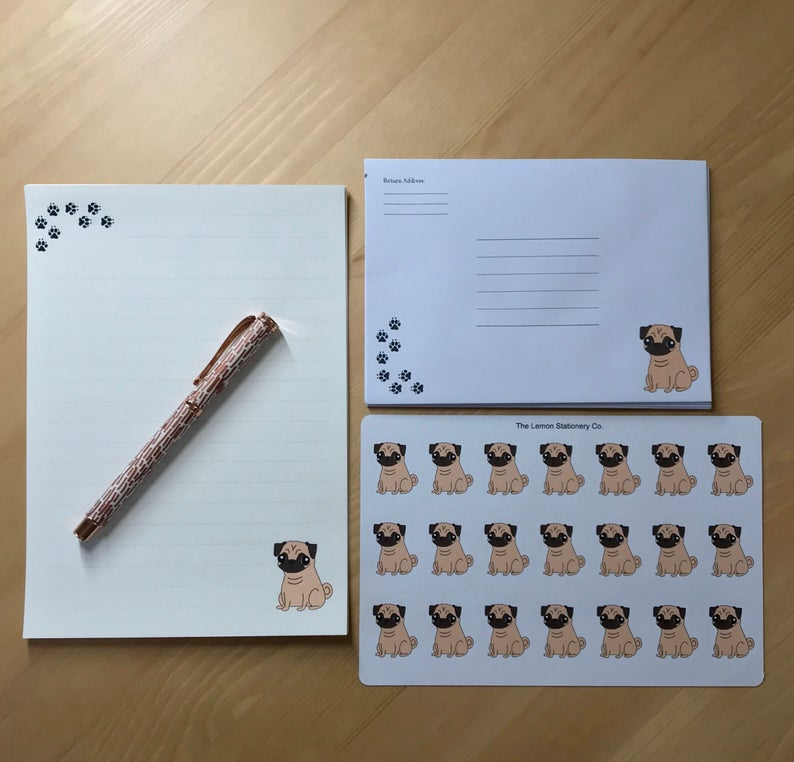 Pug-Dog-Unique-Stationery Set-Letter-Writing-Paper-&-Stickers