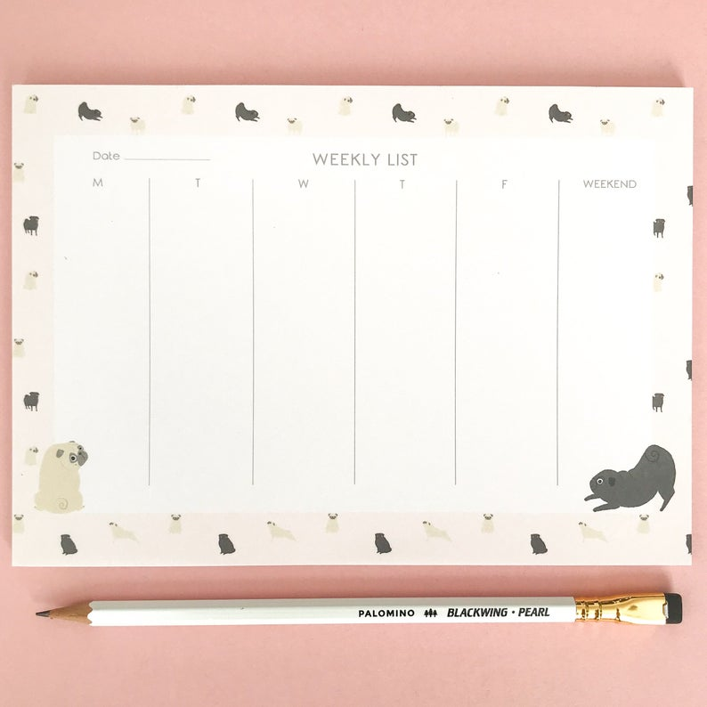 Pug-Print-Desk-Pad-Desk-Planner-Weekly-Planner-Desk-Organiser-To-Do-List-Pug-Notebook-Pug-Gift-Dog-Gift-Bujo-Office-Stationery