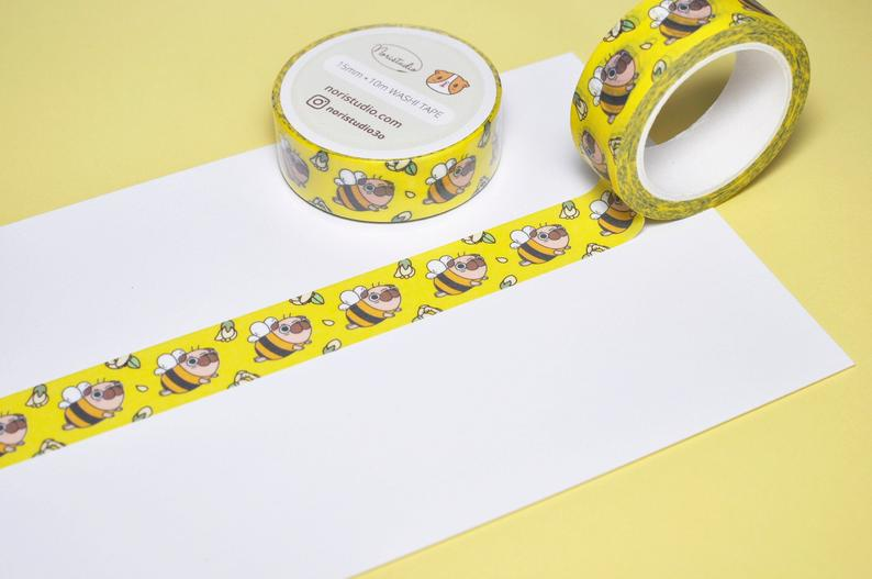 Pug-Washi-Tape-Pug-Bee-Washi-Tape-Pug-Lover-Gift-Pug-Art-Washi-Tape