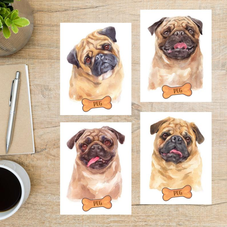 Watercolor-PUG-Postcard-Set-4-Postcards-130-Thick-Cardstock