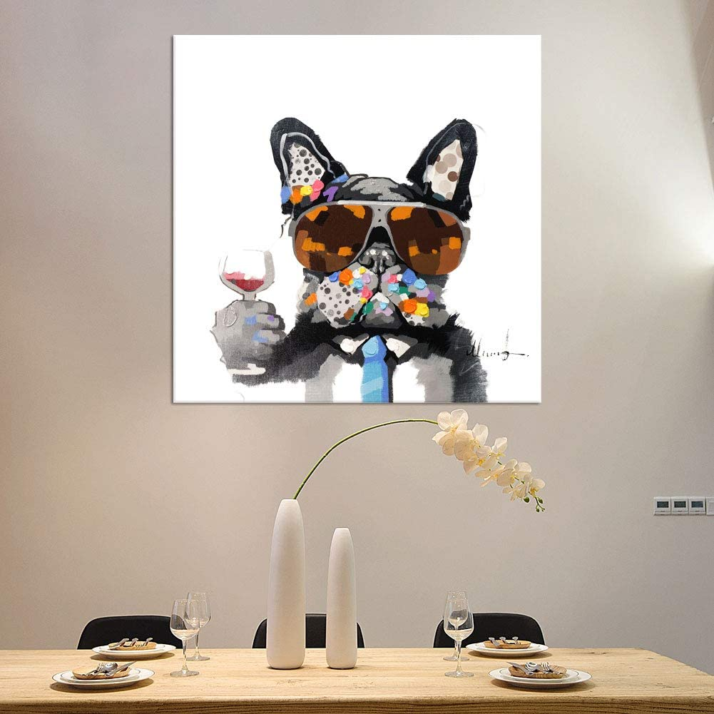 Bignut-Wall-Art-100%-Hand-Painted-Cool-Bulldog-Holding-Wine-Glass-Modern-Funny-Animal-Dog-Oil-Painting-Canvas-Framed-Decor-For-Home-and-Office-Space-24x24-inch