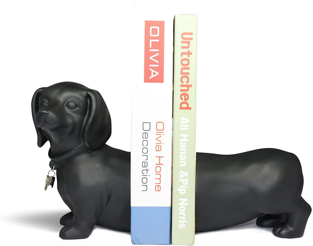 Danya-B-NY8026B-Unique-Decorative-Expandable-Dachshund-Bookend-Set-for-Dog-Lovers-Black