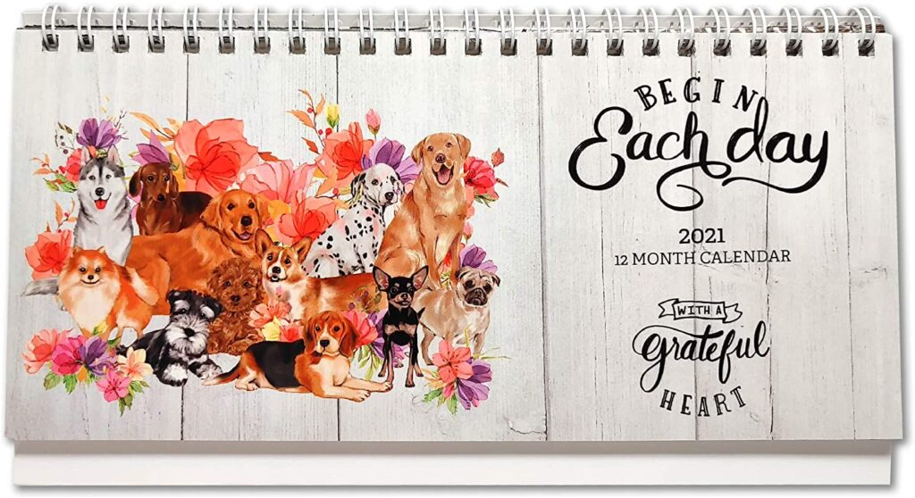 Stand-Up-Desk-Calendar-2020-2021-Cute-Dog-and-Floral-BloomTheme-Standing-Desk-Calendar-Small-Size-Monthly