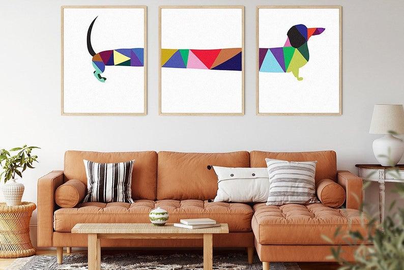Dacshund-Wall-print-set-Print-Set-of-3-Available-in-11-sizes-Colorful-print-Wall-Decor-Dog-Print-Midcentury-Art-Boho-Gift-Dog-Set