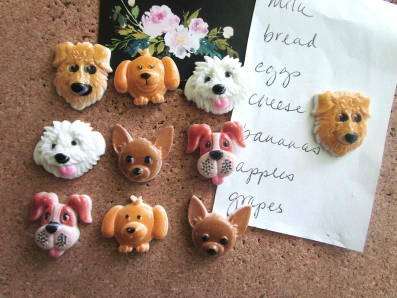 Dog-Pushpins-Thumbtacks-10-Push-Pins-Cute-Office-Supply-Cubicle-Decor-Dog-Decor-Dorm-Room-Decor